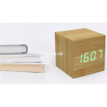 Часы-будильник LED бамбуковые с термометром (маленький)