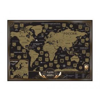 Стирающаяся карта мира BLACK (рус)