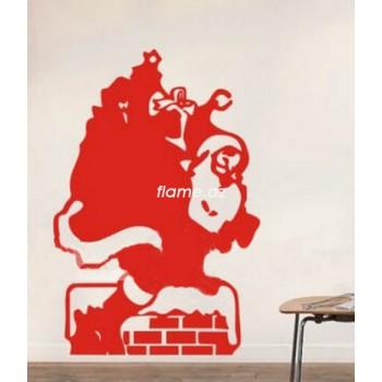 """Стикер на стену """"Санта в дымоходе"""""""