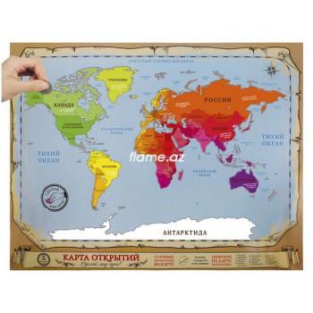 """Карта мира Scratch-map """"Открытий"""""""