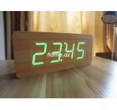 Бамбуковые LED часы-будильник с термометром