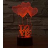 3D LED 7-ми цветный декоративный ночник (в ассортименте)