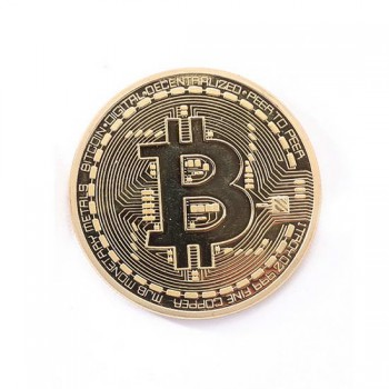 Сувенирная монета Bitcoin в пластиковом чехле