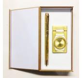 Набор подарочный с ручкой, часами и зажигалкой