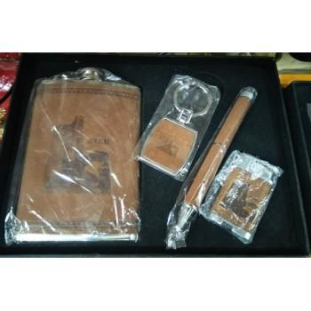 Подарочный набор из фляги, брелока, ручки и зажигалки