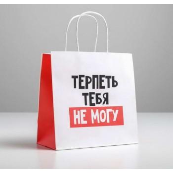 Пакет подарочный «Терпеть тебя не могу»